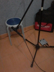 Acc guitar miking - Superlux mic, with Behringer Mic100 preamp on the floor.